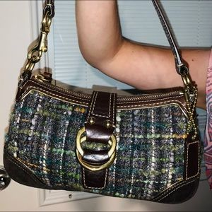 Coach Chelsea Satchel Purse WoolTweed Vintage Rare